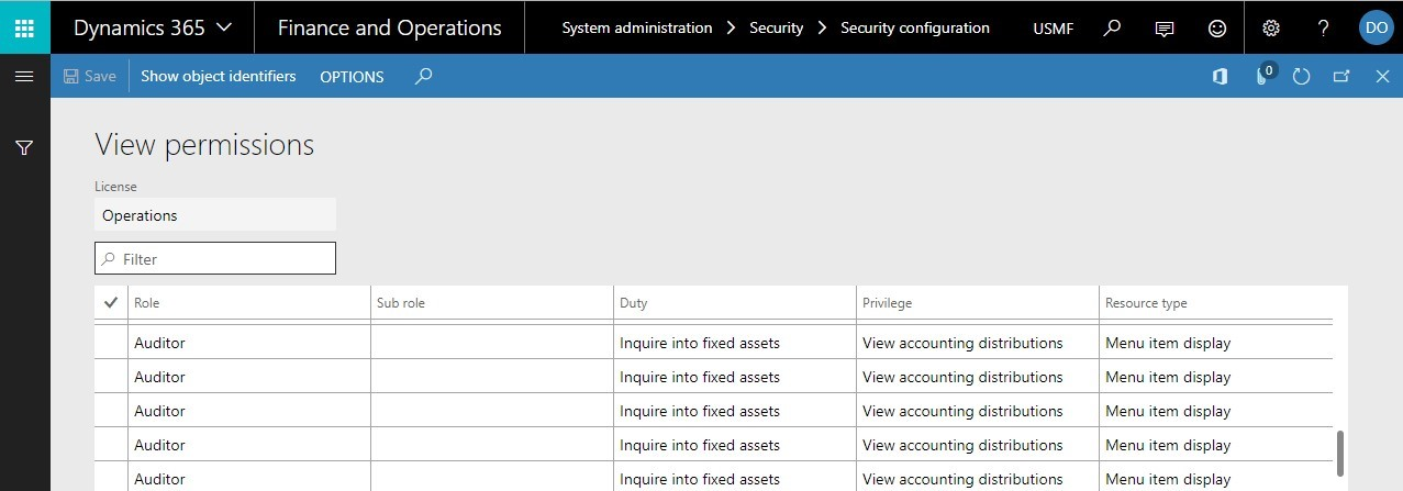 Seguridad en Dynamics 365 for Finance and Operations